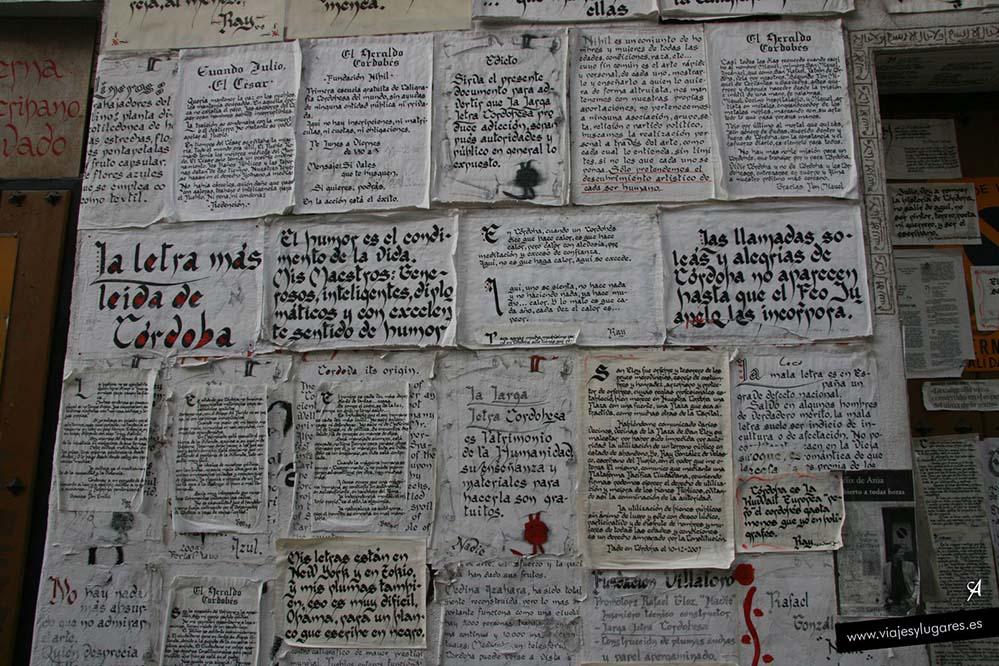 Caligrafía cordobesa en la calle Lineros