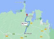 Mapa cómo llegar a Cala Tirant desde Es Mercadal en Menorca