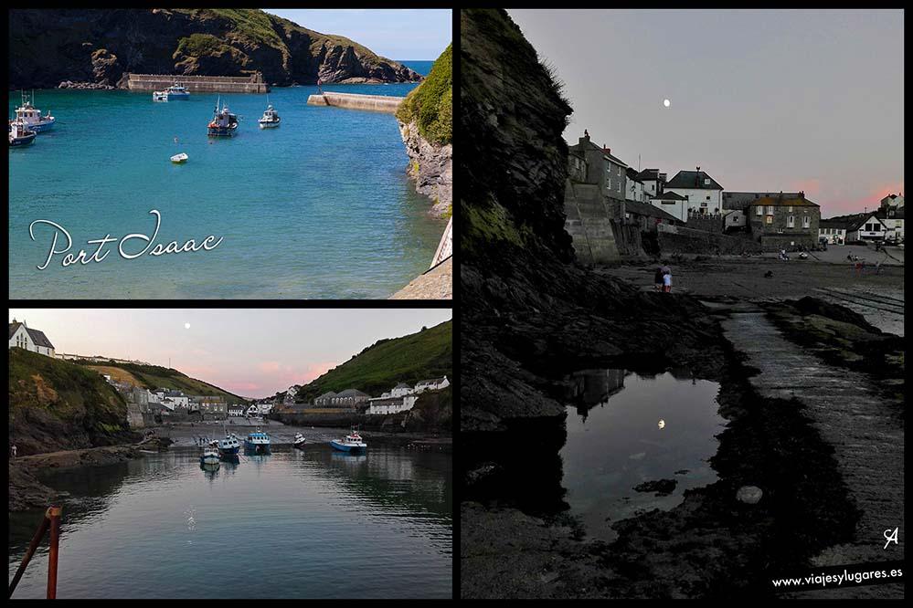 Tres imágenes de Port Isaac, Cornwall con la marea alta y la marea baja