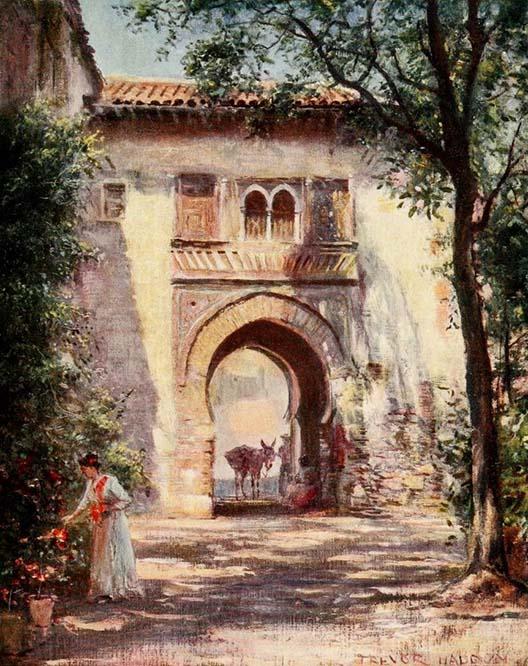 Puerta del Vino en la Alhambra. 1908. Trevor Haddon