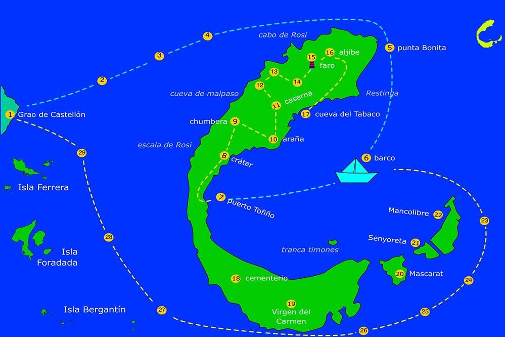 Mapa de la excursión a las islas Columbretes