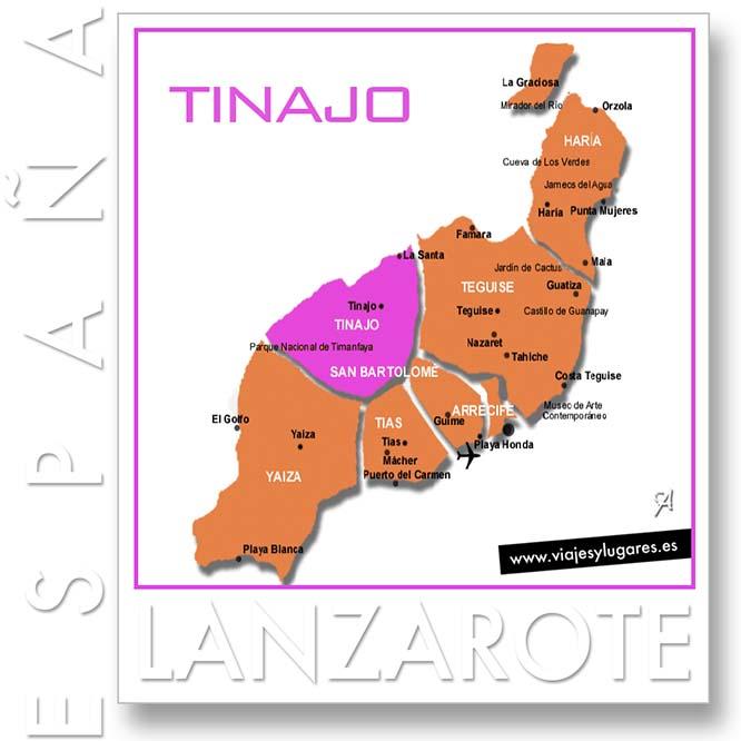 Mapa de Lanzarote separado por municipios