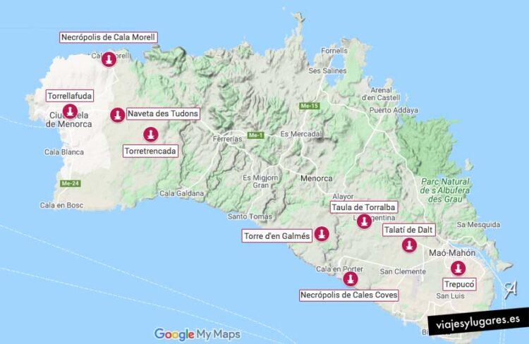 Mapa con los yacimientos prehistóricos de Menorca